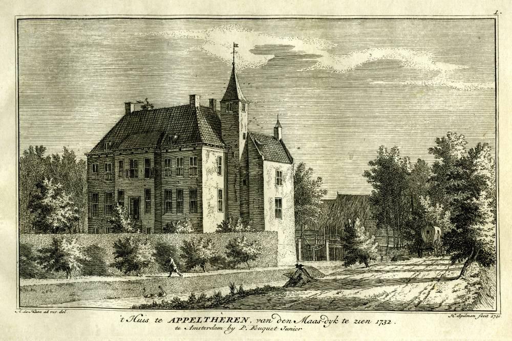Appeltern in Appeltern. Tekening Abraham de Haen, gravure Hendrik Spilman